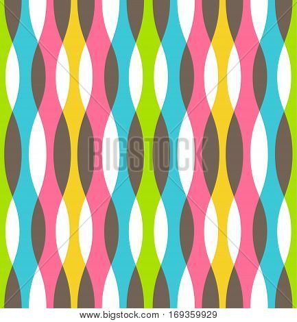 Seamless Bright Fun Abstract Vertical Wavy Pattern