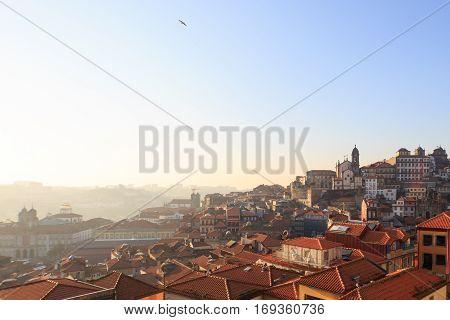 January 4 2015: Porto Skyline on a winter sunny morning. Porto Portugal