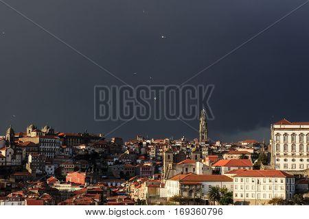 November 26 2012: Porto Skyline on a Cloudy day. Porto Portugal