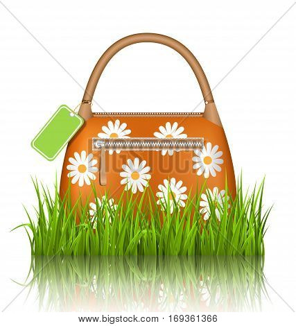Orange woman spring bag with chamomiles flowers and sale label in grass lawn with reflection on white background