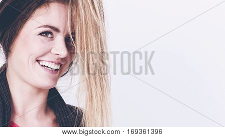Cheerful Girl With Hanging Hairs.