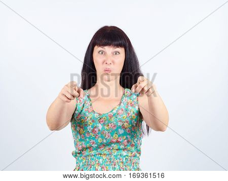 Laughter Young Woman In Green Dress