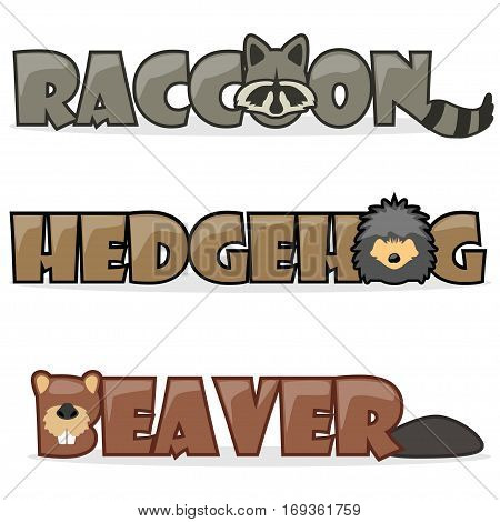cute cartoon forest wild animals funny text name raccoon hedgehog and beaver