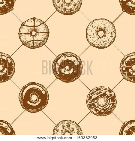 Seamless pattern with delicious donuts. Vector illustration background in ink hand drawn style.