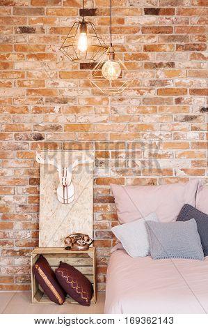 Bedroom With Pallet Nightstand