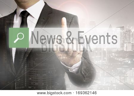 News And Events Browser With Businessman City Concept