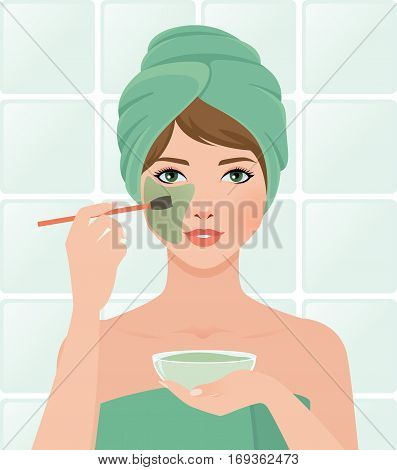 Stock vector illustration of a beautiful woman making a mask to care for the skin