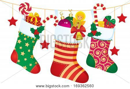 Stock vector illustration of Christmas socks with gifts and sweets