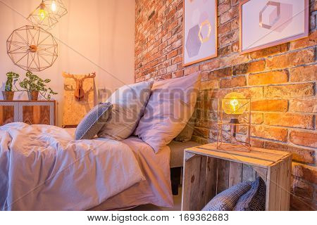 Hipster Bedroom With Crate Nightstand