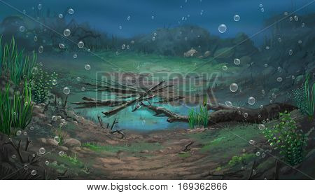 Illustration of an underwater view at daytime
