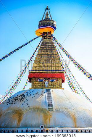 Old buddhist stupa in Kathmandu. Boudhanath Nepal