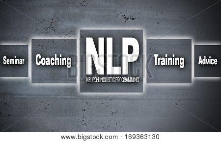 NLP coaching touchscreen concrete concept background picture