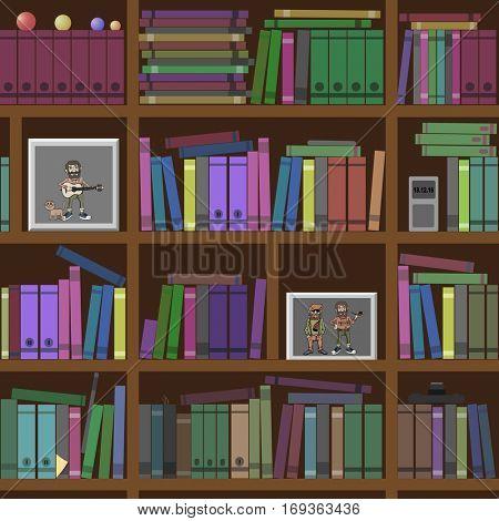 Bookshelves. Seamless texture Vector illustration