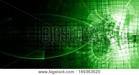 Abstract background element. Chaotic distortion of regular grid pattern. Wide format. Technology glitch concept. Green color.