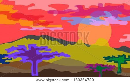 Beautiful scenery with mountains, baobabs and cloudy sky.