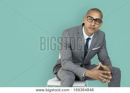 African Descent Business Man Thinking Concept