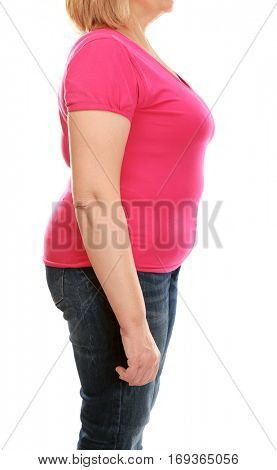 Stout adult woman on white background