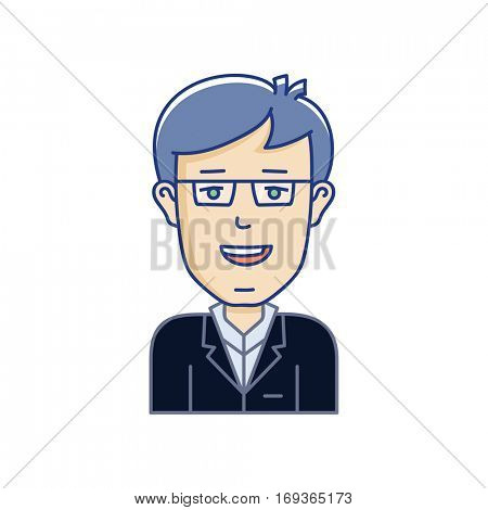 IT Manager vector avatar. Vector linear face expression illustration