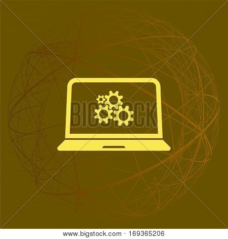 Setting Parameters, Laptop Icon, Vector Illustration. Flat Design Style