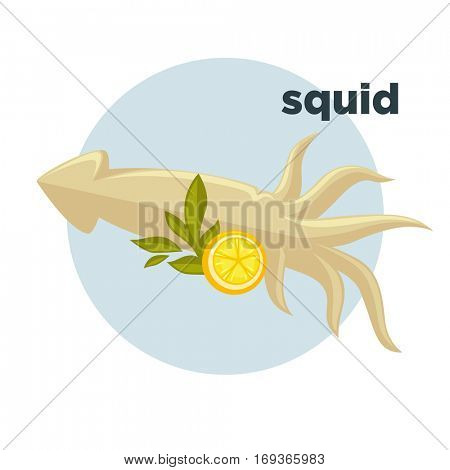 Icon of squid with lemon. Sign of delicacy seafoods in restaurant. Symbol of marine or ocean underwater animal with tentacle. Vector illustration isolated on white. Design element in cartoon style