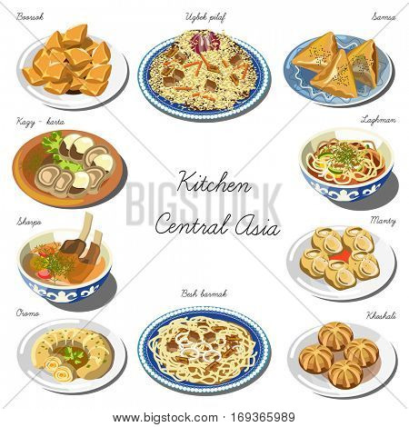 Central asia cuisine set. Collection of food dishes for the decoration of restaurants, cafes, menus. Vector Illustration. Isolated on white.