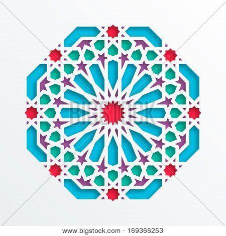 Islamic geometric pattern. Vector 3D muslim mosaic persian motif. Elegant oriental ornament traditional arabic art. Mosque decoration element. Colorful mandala for brochures greeting cards