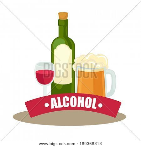 Alcohol drinks: wineglass, bottle of wine and glass of beer. Design element to celebration or party in bar, restaurant or pub. Vector cartoon illustration with beverage isolated on white background.