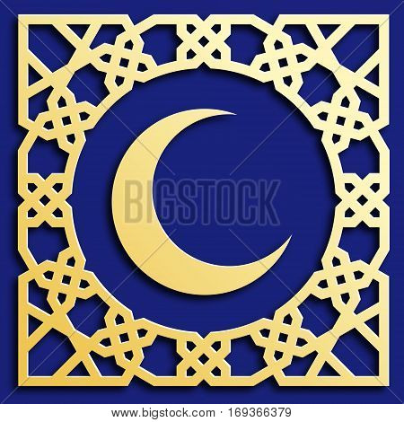 Vector golden muslim mosaic with crescent persian motif. Mosque decoration element. Islamic geometric pattern. Elegant gold oriental ornament traditional arabic art. Illustration for greeting cards