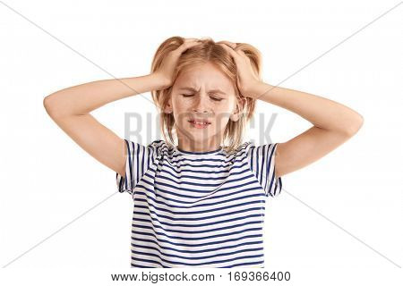 Upset girl with headache isolated on white