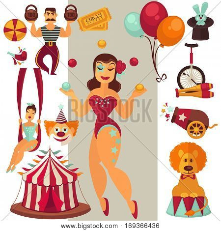 Circus or carnival icons set. Collection of symbols: retro marquee or tent for show, balls and rabbit in magic hat, trick of acrobat, strongman and lion. Flat vector illustration isolated on white