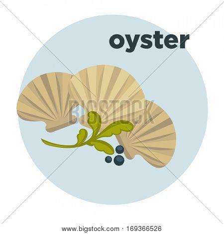 Icon of oysters. Sea food symbol: shellfish of ocean, marine mollusk. Delicious ingredient of seafood for dinner in restaurant. Vector illustration isolated on white. Design element in cartoon style