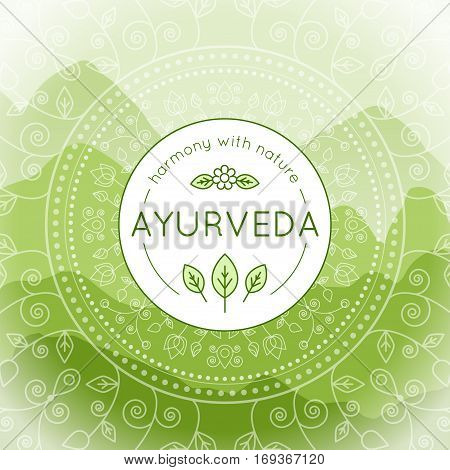 Vector Ayurveda illustration with mountains landscape ethnic patterns and sample text in green colors for use as a template of banner backdrop or poster for ayurveda medicine center or product.