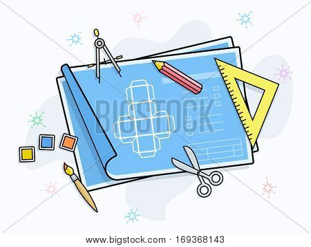 Drawing and painting tools on paper with scheme. Product prototype vector illustration.
