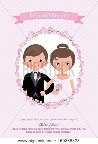 Invitation wedding card the bride and groom Stock vector illustration