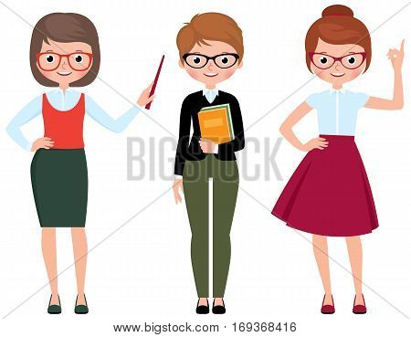 Set of vector cartoon teacher in different poses Stock Illustration