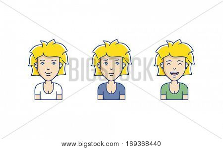 Set of different woman face expressions. Vector linear girl avatars