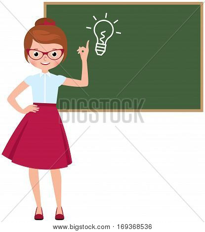 Cartoon character vector teacher standing at the blackboard and points to the idea of symbol drawn on a blackboard Stock Illustration