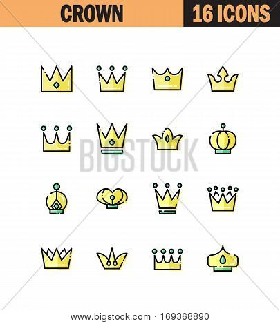 Crown flat icon set. Collection of high quality outline symbols for web design, mobile app. Crown vector thin line icons or logo.