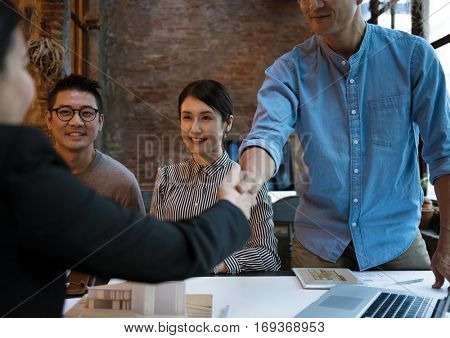 Business Partners Introduction Handshake Bow
