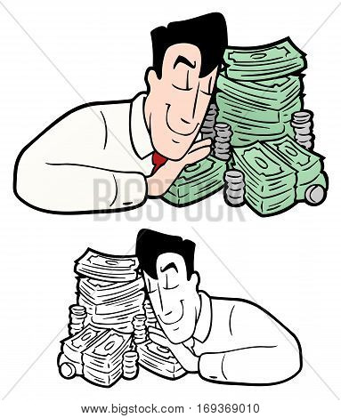Man with stacks of bills and coins, hugging his stash of cash.