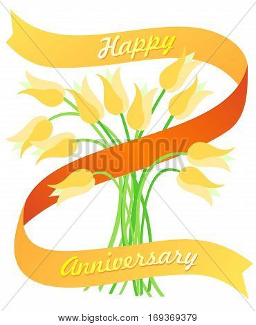 Happy anniversary banner with space for a number in the middle.  Golden tulips for springtime