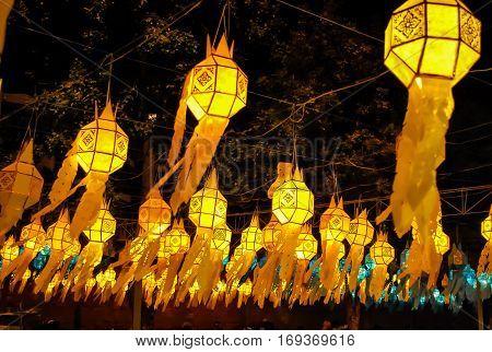 Chiangmai Thailand floating lantern in Yipeng festival at Loy krathong Day