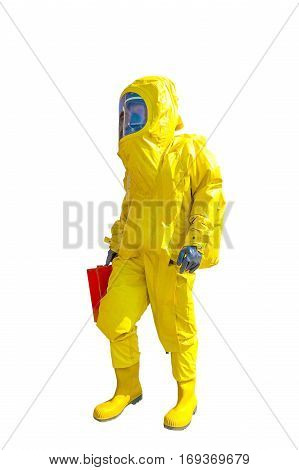 Man in yellow protective hazmat suit isolated on white
