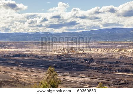 Mining industry,landscape after mining, cloudy sky, Czech Republic