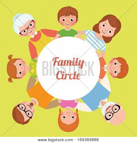 Big happy family settled in a circle hugging each other Stock Vector cartoon illustration