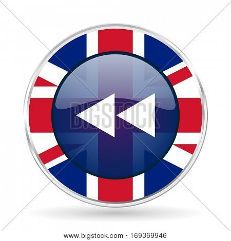 rewind british design icon - round silver metallic border button with Great Britain flag