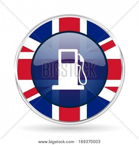 petrol british design icon - round silver metallic border button with Great Britain flag