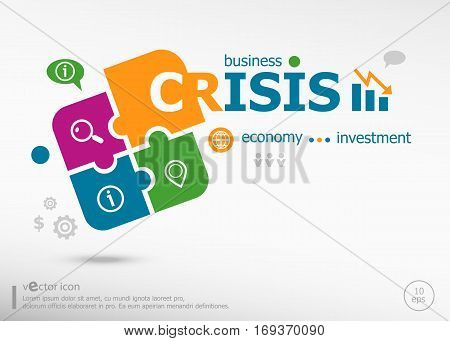 Crisis And Marketing Concept On Colorful Jigsaw Puzzle.