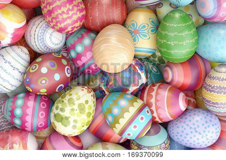 Many colorful painted easter eggs as background (3D Rendering)
