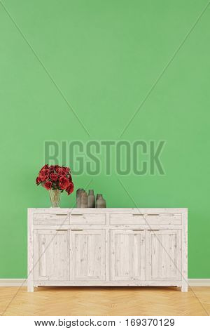 Cabinet dresser in corrider with green wall as background (3D Rendering)
